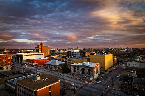Notley Hawkins Photography, Downtown Columbia Missouri, Skyline, architecture, Sunset