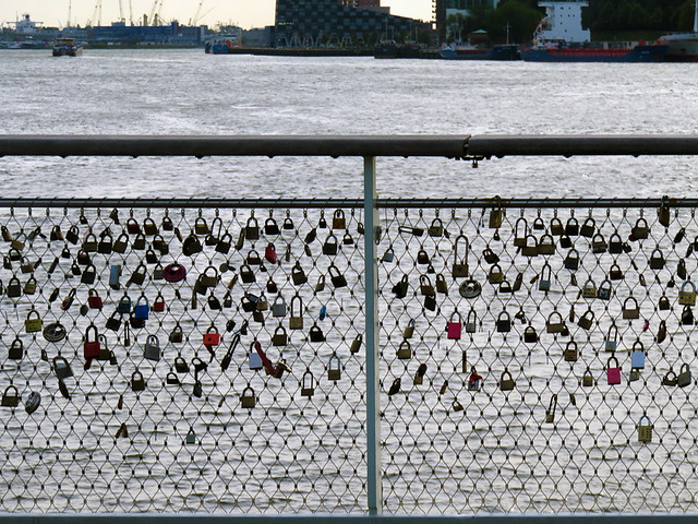 Locks on a bridge in Rotterdam, Holland
