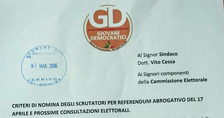 Il documento protocollato dai GD Casamassima