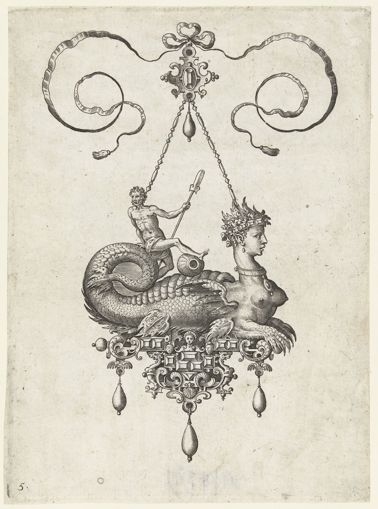 Pendant with sphinx -  Adriaen Collaert and Hans Collaert (I) attributed as printmakers, published by Philips Galle, 1582