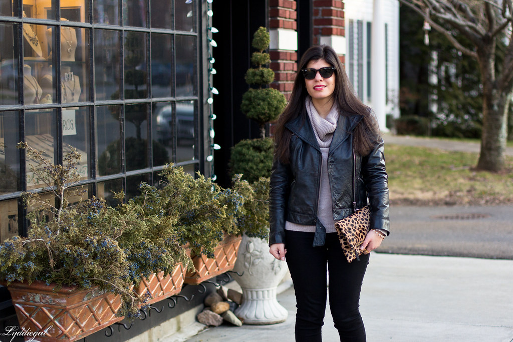 leather jacket, cowl neck sweater, leopard clutch.jpg