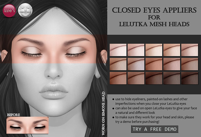 Closed Eyes for LeLutka Mesh Heads