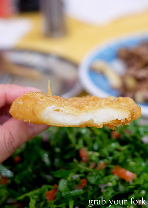 Inside the potato scallops at The Yeeros Shop, Marrickville