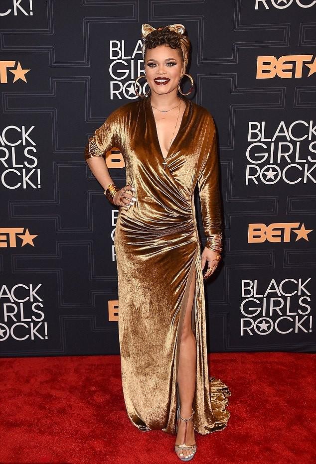 bronze-thigh-high-gown-heeled-sandals-gold-headwrap-hoop-earrings
