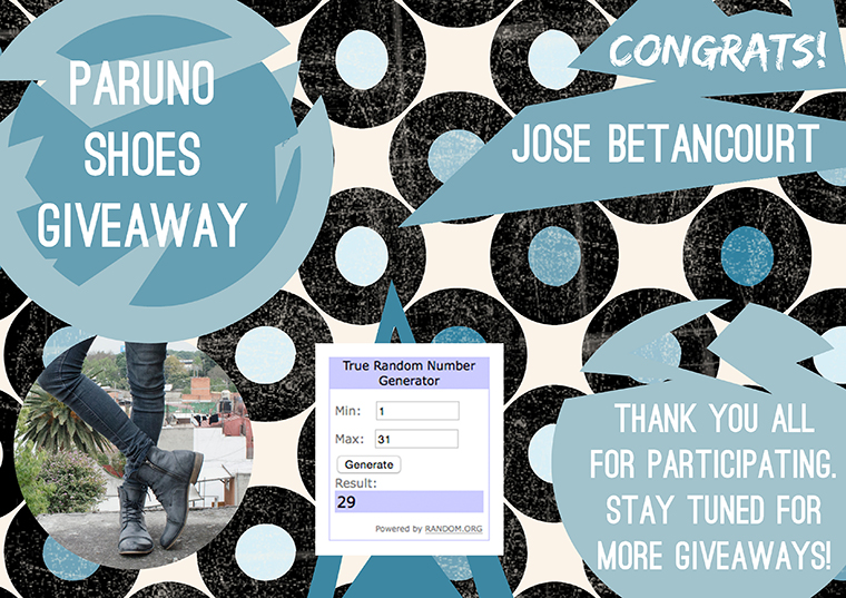 Paruno Shoes Giveaway Winner