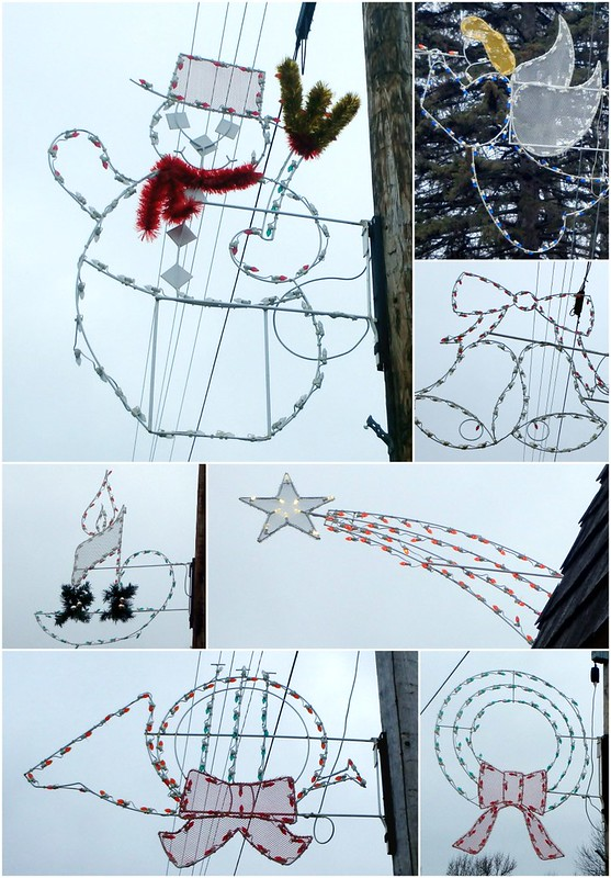 white wire shapes - snowman, angel, bells, candle, shooting star, horn, wreath