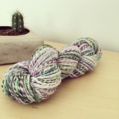 I spun some Superwash Merino in the colourway Kabam! :barber: by #spinnersofinstagram I feel like my consistency on the wheel is really starting to improve.  #ispunthat #spinallthethings