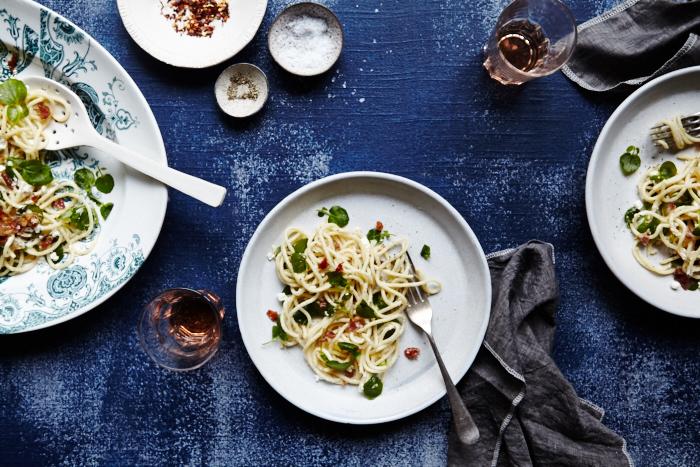 Watercress & Prosciutto Spaghetti
