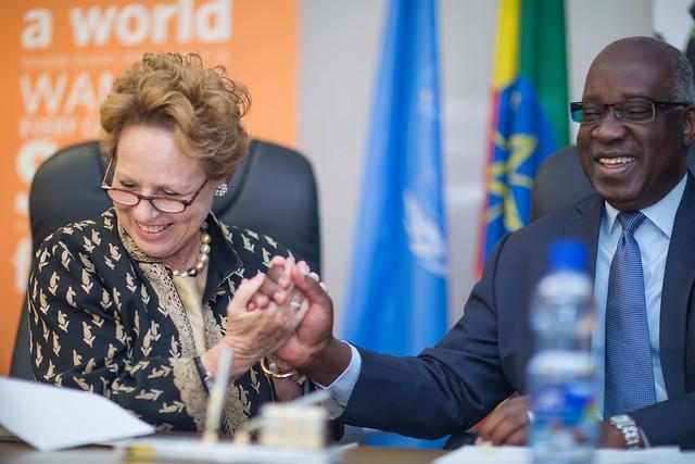 Ms Gillian Mellsop of UNICEF Ethiopia and Mr. Faustin Yao, Representative UNFPA Ethiopia signed MoU