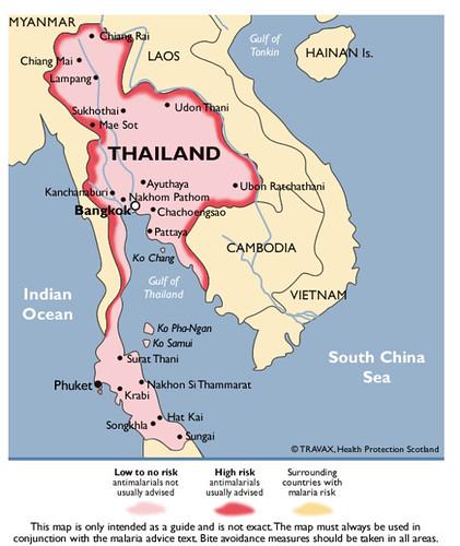 Mapa Malaria Tailandia