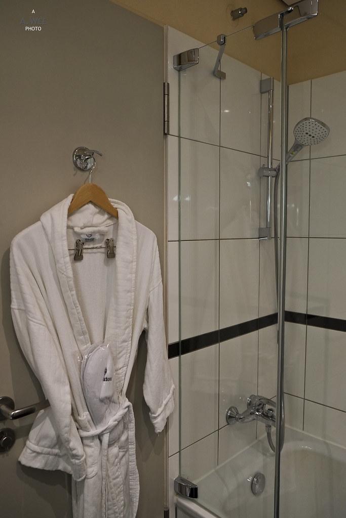 Bathrobe and shower