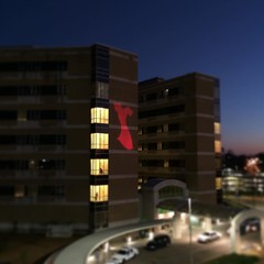 While I wasn't happy that I had to run back to the office after forgetting something, getting to see the #GoRed #dress projected on the hospital was pretty sharp! #UMMC