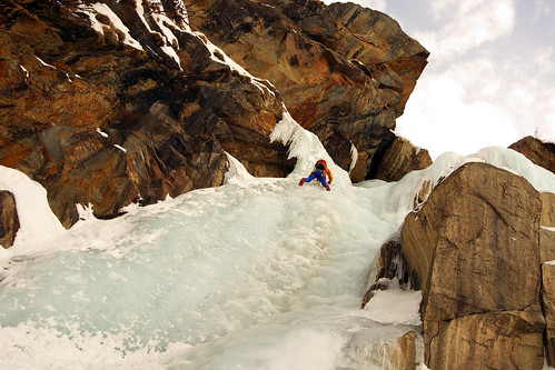 Ice climbing in the Aosta Valley  (Italian Alps)