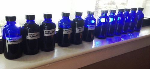 Blue bottles for extracts.
