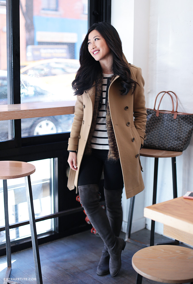 winter layers outfit burberry coat boots