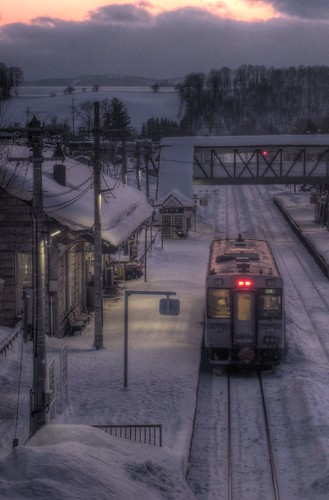 A Train at Biei Station in evening on FEB 11, 2016 (7)