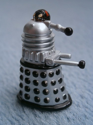 Tiny Dalek suffering an unprovoked attack by an even tinier harlequin ladybird saboteur