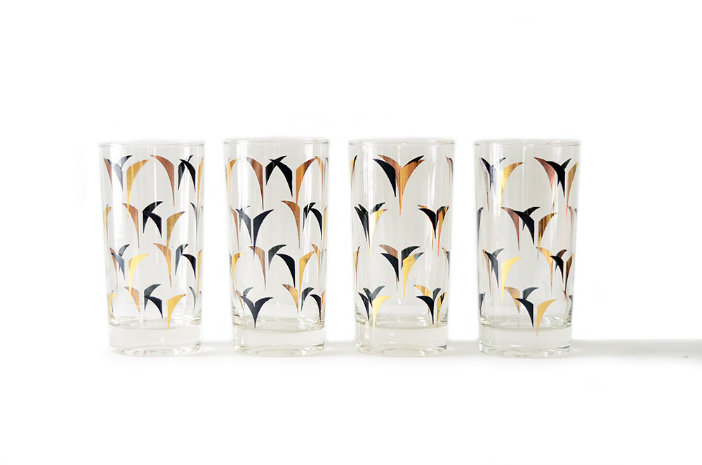 Four Vintage Mid Century Modern Drinking Glasses with Black and Gold Pattern