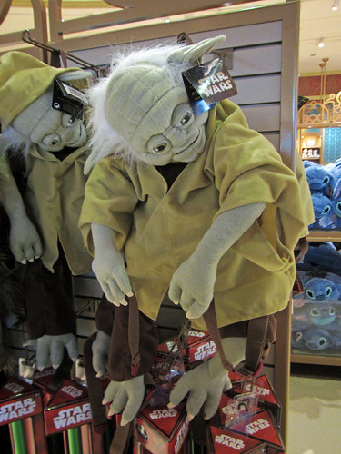 creepy old man Yoda backpack