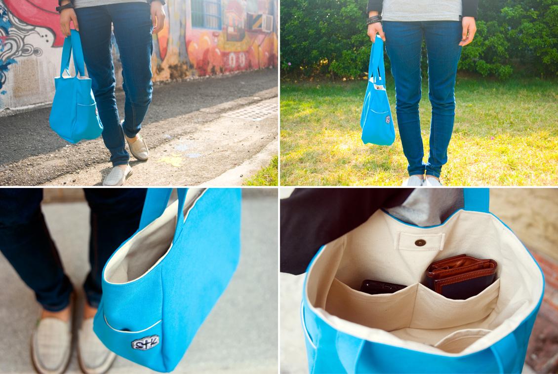 商品介紹-翠藍棉帆布-肩背包