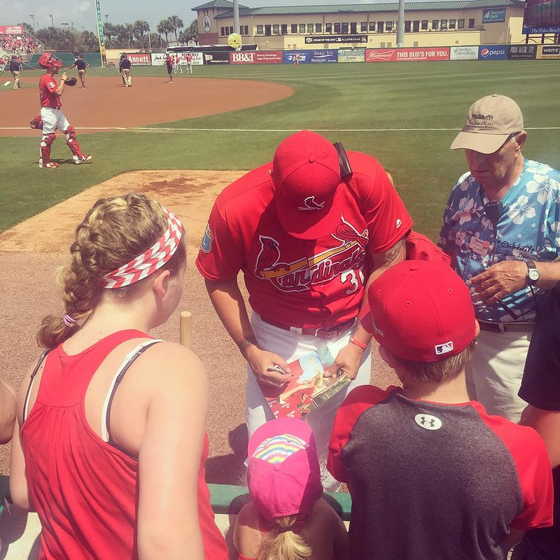 "AR in pink hat getting @bigcity32 to sign her picture of them. She told him when he took it, ""You know, that's a picture of you and me!"" #lovemyAR"