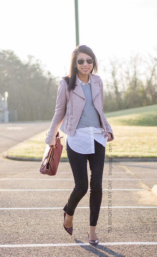 lilac leather jacket, gray cropped top, white button up shirt, black pants, burgundy tote, burgundy pumps