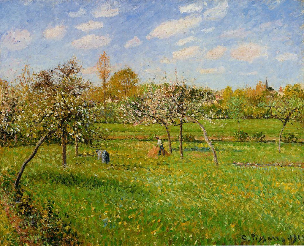 Spring Morning, Cloudy, Eragny by Camille Pissarro, 1900