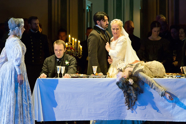 Taylor Stayton, Charles Castronovo and Diana Damrau in Katie Mitchell's Lucia di Lammermoor ©2016 ROH. Photograph by Stephen Cummiskey