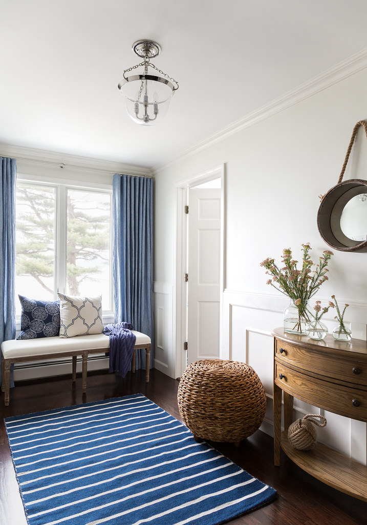 Neutral Paint Color with Blue Nautical Touches | Wood and Wicker Decor