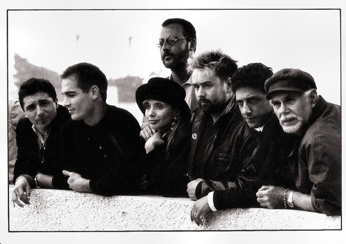 Jean Reno with director and cast Le Grand Bleu in Cannes