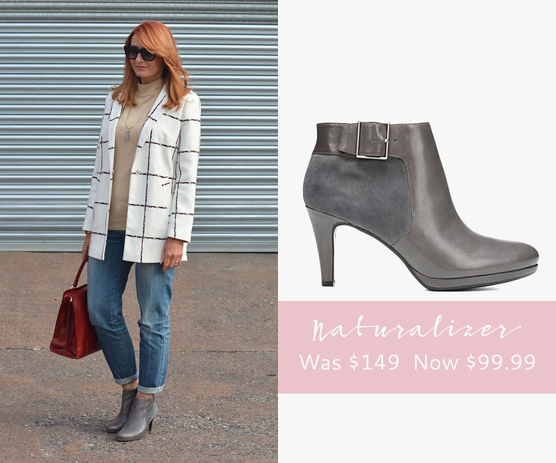 January 2016 Sales | Naturalizer Maureen grey leather & suede booties