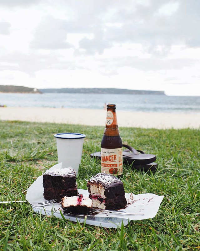 Happy homemade lamington & beer at the beach day! (aka Australia Day ?) - - -  Possibly my best fridge surprise creation ever -> leftover angel food cake • mashed fresh raspberries & blackberries made into jam with a spoonful of chia seeds • coconut