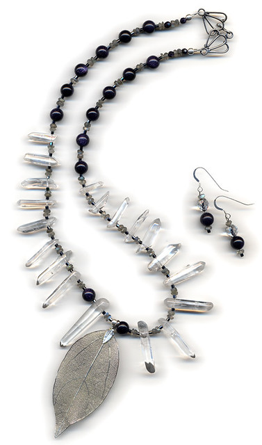 'Ice Storm' Necklace and Earrings, with quartz crystals, sparkly blue goldstone and sterling silver
