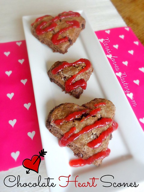 Chocolate Heart Scones with Strawberry Glaze