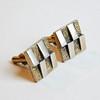 Vintage Swank Mid-Century Modern Cuff Links w/ 3-D Checkerboard Design