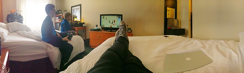 day 4214:  pre hockey tournament hotel room xbox hockey.