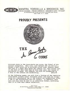 MTB-1968 Price List Arthur Conan doyle coins