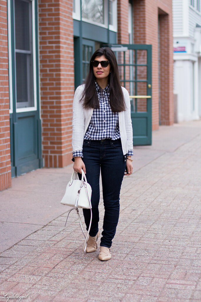 gingham shirt, white cardigan, nude laceup flats.jpg