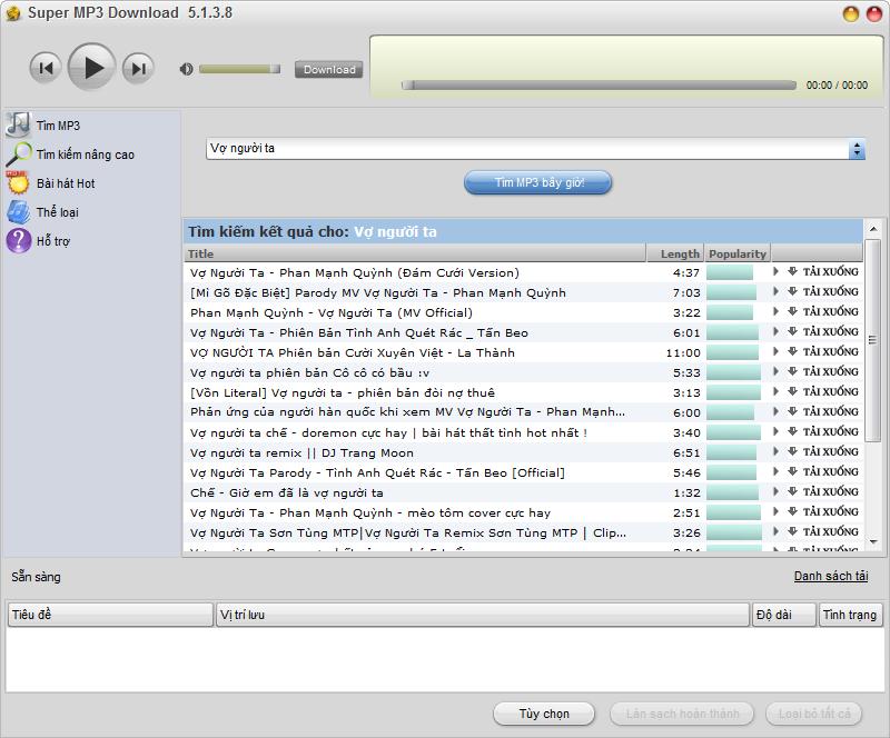 [Việt hóa] Super MP3 Download 5.1.3.8 protable Phần mềm nghe và Tải hàng triệu bài hát miễn phí