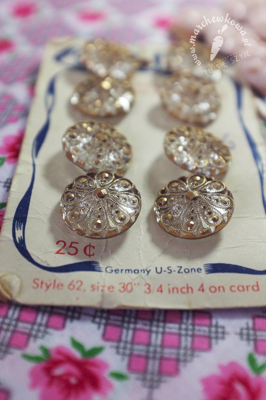 marchewkowa, blog, szycie, krawiectwo, vintage, retro, moda, guziki, kryształ, lata '40., sewing, vintage fashion, crystal buttons, 1940s, Supreme Quality
