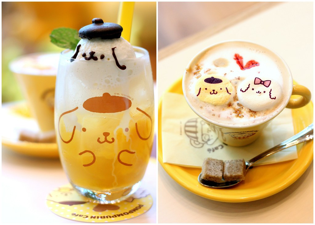 pompompurin cafe love love hot marshmallow latte and mango soda ice cream float