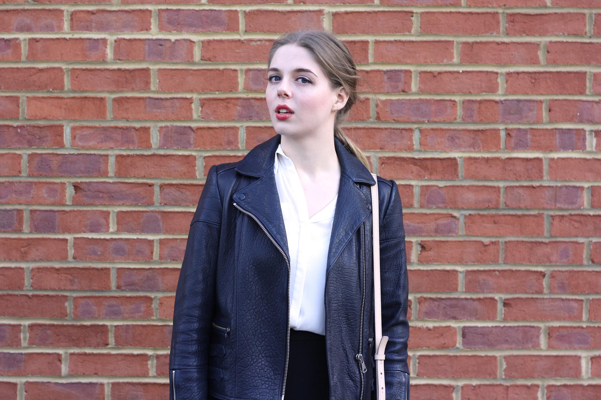Whistles Axel navy leather jacket