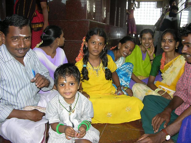 Familia India, en el Rock Fort de Trichy