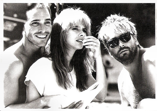 Jean-Marc Barr, Rosanna Arquette and Luc Besson at the set of Le Grand Bleu (1988)