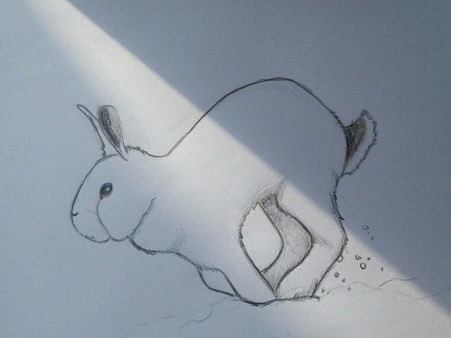 하얀 겨울의 흰토끼? 하얀 도화지가 색칠을 다한 그림