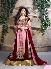 Readymade Pink Chanderi Anarkali Style Gown