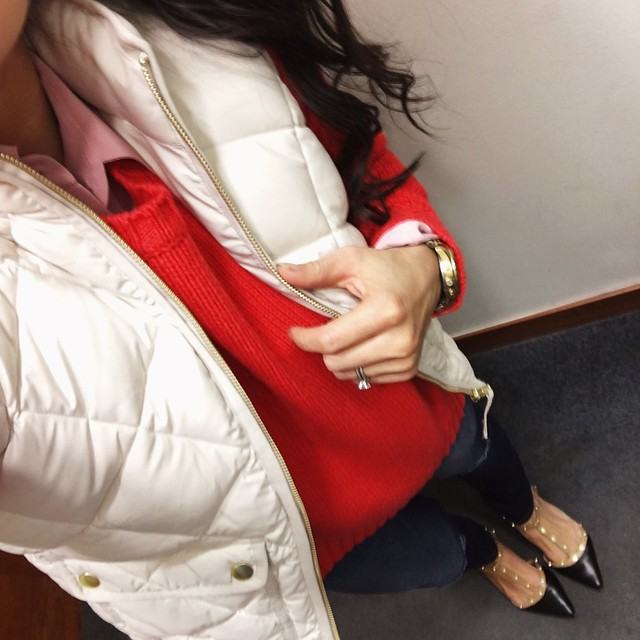 cute & little blog | petite fashion | j.crew white excursion quilted vest, j.crew red wool tunic sweater, pink silk shirt, distressed jeans, t-strap studded flats | winter outfit