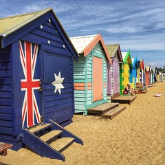 The Brighton Bathing Boxes at Dendy St. Beach just south of Melbourne. Originally built as ladies' changing sheds back in the 1800s, the beach boxes now sell for up to $260,000. You cant sleep in them or sublet them and you have to be a local taxpayer to