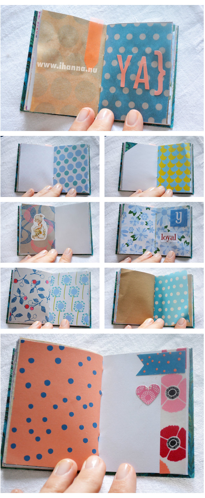A miniature notebook with mixed papers by iHanna - Copyright Hanna Andersson
