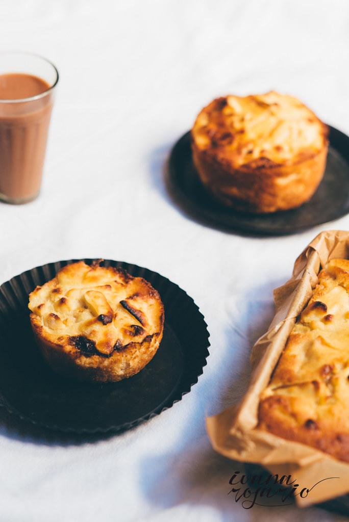 apple cake · bizcocho de manzan